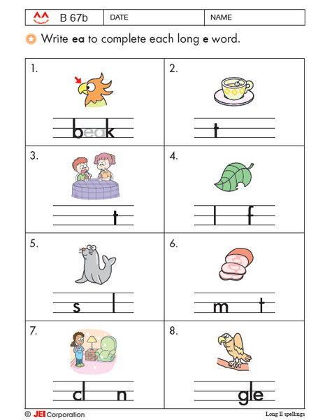 JEI Williamsburg english tutoring workbook example - Level B