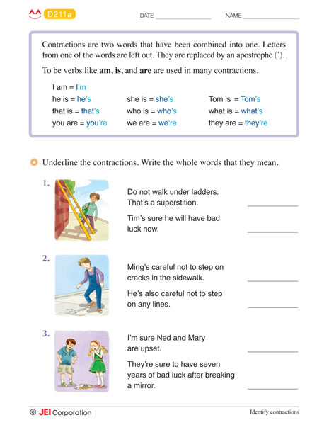 JEI Williamsburg english tutoring workbook example - Level D