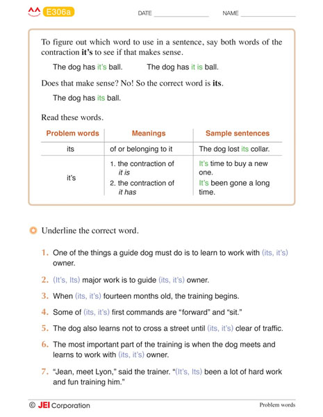 JEI Williamsburg english tutoring workbook example - Level E